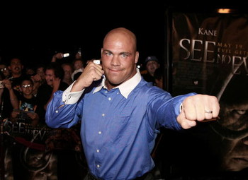 ORANGE, CA - MAY 08:  Wrestler Kurt Angle arrives at the Lions Gate Premiere of 'See No Evil' at the Century Stadium Promenade 25 on May 8, 2006 in Orange, California.  (Photo by Michael Buckner/Getty Images)