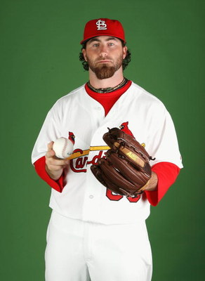 JUPITER, FL - FEBRUARY 20:  Pitcher Jason Motte #60 of the St. Louis Cardinals poses during photo day at Roger Dean Stadium on February 20, 2009 in Jupiter, Florida.  (Photo by Doug Benc/Getty Images)