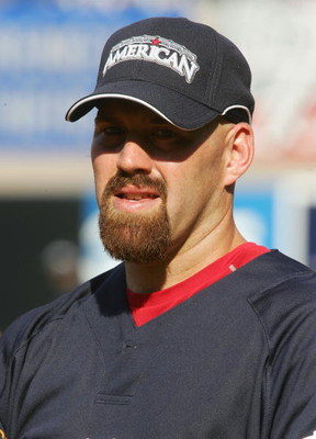 NEW YORK - JULY 15:  American League All-Star  Kevin Youkilis of the Boston Red Sox looks on during batting practice before the 79th MLB All-Star Game at Yankee Stadium on July 15, 2008 in the Bronx borough of New York City.  (Photo by Jim McIsaac/Getty I
