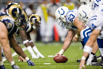 ST. LOUIS, MO - OCTOBER 25: Jeff Saturday #63 of the Indianapolis Colts lines up against the St. Louis Rams at the Edward Jones Dome on October 25, 2009 in St. Louis, Missouri.  The Colts beat the Rams 42-6.  (Photo by Dilip Vishwanat/Getty Images)