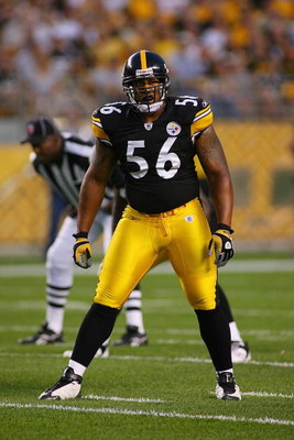 PITTSBURGH - AUGUST 13:  LaMarr Woodley #56 of the Pittsburgh Steelers stands on the field during the preseason NFL game against the Arizona Cardinals at Heinz Field on August 13, 2009 in Pittsburgh, Pennsylvania.  The Steelers won 20-10.  (Photo by Rick