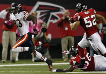 ATLANTA - OCTOBER 18:  Wide receiver Devin Hester #23 of the Chicago Bears runs with the ball after a punt in the first quarter of the game against the Atlanta Falcons at the Georgia Dome on October 18, 2009 in Atlanta, Georgia. (Photo by Kevin C. Cox/Get