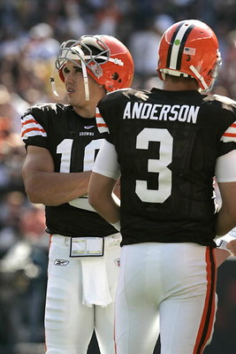 CLEVELAND - SEPTEMBER 16:  Brady Quinn #10 and Derek Anderson #3 of the Cleveland Browns look on during the NFL game against the Cincinnati Bengals at the Cleveland Browns Stadium on September 16, 2007 in Cleveland, Ohio. (Photo by Jeff Gross/Getty Images