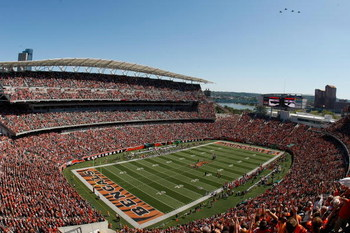 CINCINNATI, OH - SEPTEMBER 13: A general view of Paul Brown Stadium as a fly over takes place during the National Anthem prior to the game between the Denver Broncos against the Cincinnati Bengals at Paul Brown Stadium on September 13, 2009 in Cincinnati,