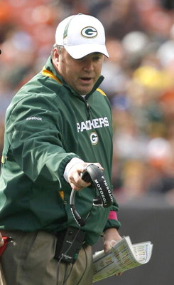 CLEVELAND, OH - OCTOBER 25:  Mike McCarthy head coach of the Green Bay Packers argues a call against the Cleveland Browns at Cleveland Browns Stadium on October 25, 2009 in Cleveland, Ohio.  (Photo by Matt Sullivan/Getty Images)