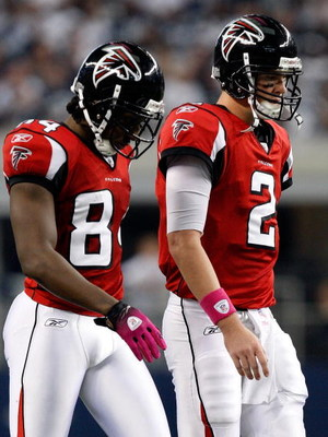 ARLINGTON, TX - OCTOBER 25:  Quarterback Matt Ryan #2 and Roddy White #84 of the Atlanta Falcons walk off the field during a game with the Dallas Cowboys at Cowboys Stadium on October 25, 2009 in Arlington, Texas.  (Photo by Ronald Martinez/Getty Images)