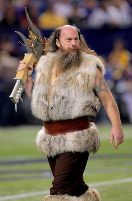 MINNEAPOLIS - OCTOBER 18:  Ragnar, the Vikings mascot, supports the Minnesota Vikings against the Baltimore Ravens during NFL action at Hubert H. Humphrey Metrodome on October 18, 2009 in Minneapolis, Minnesota. The Vikings defeated the Ravens 33-31.  (Ph
