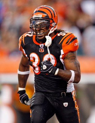 CINCINNATI - OCTOBER 25:  Cedric Benson #32 of the Cincinnati Bengals celebrates after scoring a touchdown during the NFL game against the Chicago Bears at Paul Brown Stadium on October 25, 2009 in Cincinnati, Ohio.  The Bengals won 45-10.  (Photo by Andy