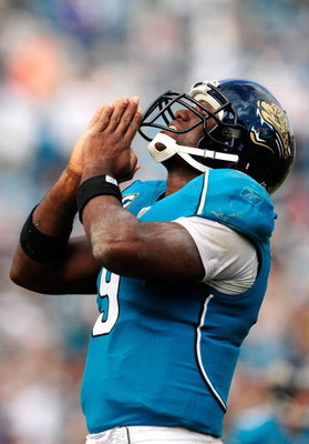 JACKSONVILLE, FL - OCTOBER 18:  David Garrard #9 of the Jacksonville Jaguars celebrates after a touchdown during the game against the St. Louis Rams at Jacksonville Municipal Stadium on October 18, 2009 in Jacksonville, Florida.  (Photo by Sam Greenwood/G