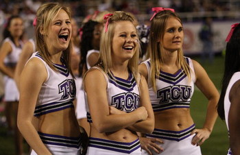 FORT WORTH, TX - OCTOBER 16:  TCU Horned Frogs cheerleaders wear pink ribbons for Breast Cancer Awareness month during play against the BYU Cougars at Amon G. Carter Stadium on October 16, 2008 in Fort Worth, Texas.  (Photo by Ronald Martinez/Getty Images
