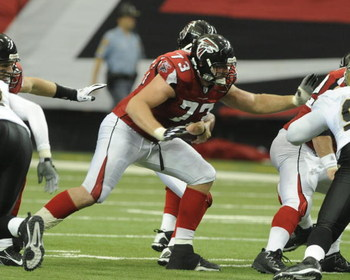 ATLANTA - NOVEMBER 9: Guard Harvey Dahl #73 of the Atlanta Falcons blocks against the New Orleans Saints at the Georgia Dome on November 9, 2008 in Atlanta, Georgia.  (Photo by Al Messerschmidt/Getty Images)