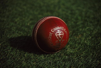 Jul 1997:  A cricket ball resting on the lawn. \ Mandatory Credit: Clive Mason /Allsport