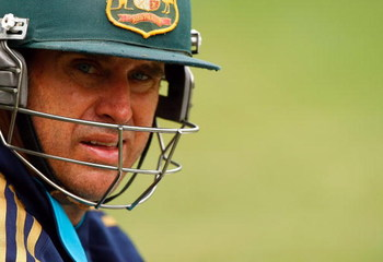 MELBOURNE, AUSTRALIA - DECEMBER 23:  Matthew Hayden looks on during an Australian nets session at the Melbourne Cricket Ground on December 23, 2008 in Melbourne, Australia  (Photo by Lucas Dawson/Getty Images)