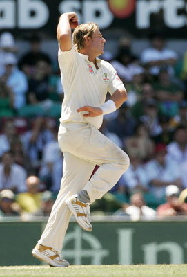 SYDNEY, AUSTRALIA - JANUARY 05:  Shane Warne of Australia bowls his last test delivery during day four of the fifth Ashes Test Match between Australia and England at the Sydney Cricket Ground on January 5, 2007 in Sydney, Australia. McGrath retired from t