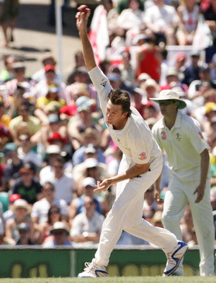 SYDNEY, AUSTRALIA - JANUARY 05: Glenn McGrath of Australia bowls his last test delivery, a wicket, during day four of the fifth Ashes Test Match between Australia and England at the Sydney Cricket Ground on January 5, 2007 in Sydney, Australia. McGrath re