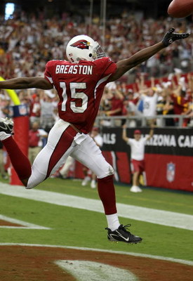 GLENDALE, AZ - SEPTEMBER 30:  Steve Breaston #15 of the Arizona Cardinals celebrates returning a punt for a touchdown against the Pittsburgh Steelers at University of Phoenix Stadium September 30, 2007 in Glendale, Arizona.  (Photo by Jonathan Ferrey/Gett