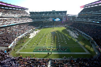 PHILADELPHIA - DECEMBER 3:  In this handout provided by the U.S. Navy, the U.S. Naval Academy Midshipmen stretch prior to the start of the 106th Army vs.Navy football game on December 3, 2005 held for the third consecutive year at Lincoln Financial Field