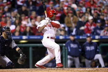 PHILADELPHIA - OCTOBER 25:  Jimmy Rollins #11 of the Philadelphia Phillies bats against the Tampa Bay Rays during game three of the 2008 MLB World Series on October 25, 2008 at Citizens Bank Park in Philadelphia, Pennsylvania.  (Photo by Doug Pensinger/Ge