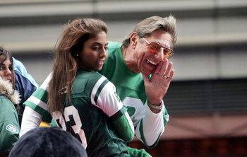 NEW YORK - NOVEMBER 25:  Football star Joe Namath yells to the crowd as he passes on a float in Times Square during the 78th Annual Macy's Thanksgiving Day Parade November 25, 2004 in New York City. Thousands attended the parade which featured 15 giant ch