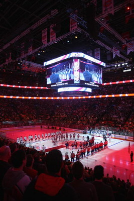 MONTREAL - JANUARY 25:  General view during the National Anthem before the 2009 NHL All-Star game at the Bell Centre on January 25, 2009 in Montreal, Canada. (Photo by Bruce Bennett/Getty Images)