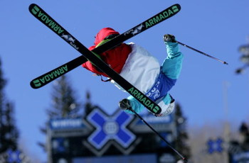ASPEN, CO - JANUARY 25:  Tanner Hall of Kalispell, Montana competes in the Skiing Superpipe Men's Elimination at the ESPN Winter X Games 11 on January 25, 2007 in Aspen, Colorado.  (Photo by Doug Pensinger/Getty Images)