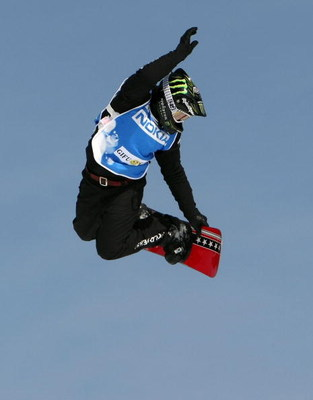 GUJO, JAPAN - FEBRUARY 22:  Shaun Palmer of the USA flys through the air in the Snowboardcross small final of Snowboard FIS World Cup 2008 Gifu/Gujo on February 22, 2008 in Gujo, Gifu, Japan.  (Photo by Koichi Kamoshida/Getty Images)
