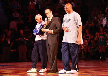 LAS VEGAS - FEBRUARY 17:  (L-R)  Referee Dick Bavetta, TNT announcer Ernie Johnson and NBA legend Charles Barkley stand at mid-court before the start of the Bavetta/Barkley Challenge during NBA All-Star Weekend on February 17, 2007 at Thomas & Mack Center
