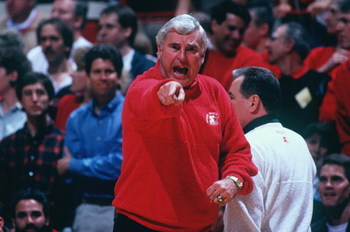 19 FEB 1994:  INDIANA UNIVERSITY HEAD COACH POINTS OUT AN OFFICIAL''S MISTAKE DURING HIS TEAM''S 82-80 WIN OVER PURDUE AT ASSEMBLY HALL IN BLOOMINGTON, INDIANA. Mandatory Credit: Gary Mook/ALLSPORT