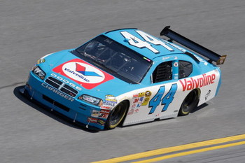 DAYTONA BEACH, FL - FEBRUARY 07:  AJ Allmendinger driver of the #44 Valvoline Dodge, Drives during practice for the NASCAR Sprint Cup Series Daytona 500 at Daytona International Speedway on February 7, 2009 in Daytona Beach, Florida.  (Photo by John Harre