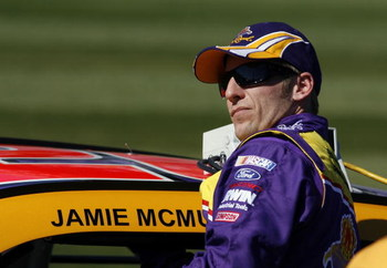 DAYTONA BEACH, FL - FEBRUARY 08: Jamie McMurray, climbs aboard the #26 Crown Royal Ford, during qualifying for the NASCAR Sprint Cup Series Daytona 500 at Daytona International Speedway on February 8, 2009 in Daytona Beach, Florida.  (Photo by Jason Smith