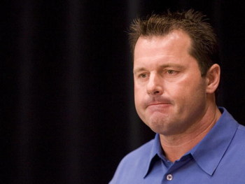 HOUSTON, TX - JANUARY 7:  Pitcher Roger Clemens pauses during a news conference after a taped conversation was played between Clemens and his former trainer Brian McNamee January 7, 2008 in Houston, Texas. Clemens addressed allegations made by his former