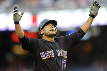 WASHINGTON - AUGUST 13:  Fernando Tatis #17 of the New York Mets celebrates after hitting a home run in the second inning against the Washington Nationals August 13, 2008 at Nationals Park in Washington, DC.  (Photo by Greg Fiume/Getty Images)