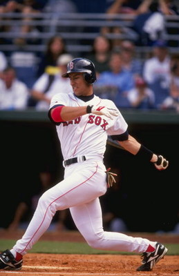 1 Mar 1998:  Infielder Nomar Garciaparra of the Boston Red Sox in action at the plate during the Red Sox 11-2 victory over the Minnesota Twins at the City of Palms Park in Fort Meyers, Florida.  Mandatory Credit: David Seelig  /Allsport