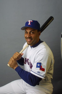 27 Feb 2002: Juan Gonzalez of the Texas Rangers poses during media day at Charlotte County Stadium in Port Charlotte, Florida. DIGITAL IMAGE  Mandatory Credit: Rick Stewart/Getty Images