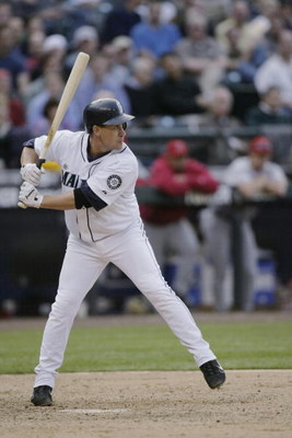 SEATTLE - MAY 4:  Bret Boone #29 of the Seattle Mariners bats against the Los Angeles Angels of Anaheim during the game on May 4, 2005 at Safeco Field in Seattle, Washington.  (Photo by Otto Greule Jr/Getty Images)