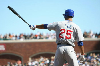 SAN FRANCISCO - JULY 3:   Derrek Lee #25 of the Chicago Cubs bats against the San Francisco Giants during a Major League Baseball game on July 3, 2008 at AT&T Park in San Francisco, California.  (Photo by: Jed Jacobsohn/Getty Images)