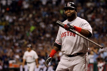 ST PETERSBURG, FL - OCTOBER 19:  David Ortiz #34 of the Boston Red Sox reacts after striking out against the Tampa Bay Rays in game seven of the American League Championship Series during the 2008 MLB playoffs on October 19, 2008 at Tropicana Field in St