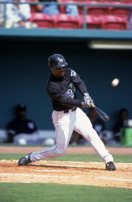 13 Mar 2000:  Greg Vaughn #23 of the Tampa Bay Devil Rays swings at the ball during the Spring Training Game against New York Yankees in St. Petersburg, Florida. Mandatory Credit: Ezra O. Shaw  /Allsport