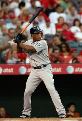 ANAHEIM, CA - AUGUST 12:  Adrian Beltre #29 of the Seattle Mariners bats during the game against the Los Angeles Angels of Anaheim at Angel Stadium on August 12, 2008 in Anaheim, California.  The Angels defeated the Mariners 7-3.  (Photo by Christian Pete