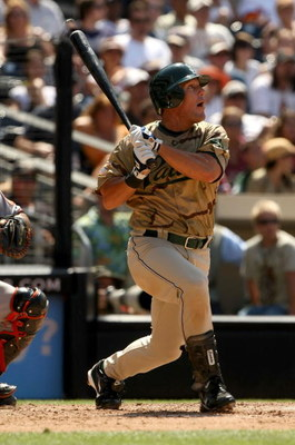 SAN DIEGO - AUGUST 3: Brian Giles #24 of the San Diego Padres hits an RBI singe in the seventh inning against the San Francisco Giants at Petco Park on August 3, 2008 in San Diego, California. The Padres won 4-1.  (Photo by Stephen Dunn/Getty Images)