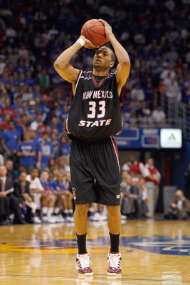 LAWRENCE, KS - DECEMBER 3:  Troy Gillenwater #33 of the New Mexico State Aggies makes a free throw during the game against the Kansas Jayhawks on December 3, 2008 at Allen Fieldhouse in Lawrence, Kansas. (Photo by Jamie Squire/Getty Images)