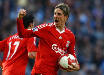 MANCHESTER, UNITED KINGDOM - OCTOBER 05:  Fernando Torres of Liverpool celebrates scoring his team's first goal during the Barclays Premier League match between Manchester City and Liverpool at The City of Manchester Stadium on October 5, 2008 in Manchest