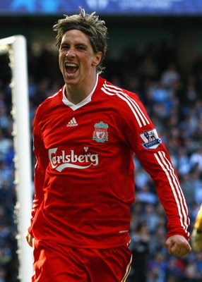 MANCHESTER, UNITED KINGDOM - OCTOBER 05:  Fernando Torres of Liverpool celebrates scoring his team's second goal during the Barclays Premier League match between Manchester City and Liverpool at The City of Manchester Stadium on October 5, 2008 in Manches