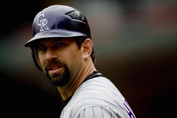 ST. LOUIS, MO - APRIL 3: Todd Helton #17 of the Colorado Rockies  waits on deck against the St. Louis Cardinals on April 3, 2008 at Busch Stadium in St. Louis, Missouri.  The Cardinals beat the Rockies 3-0.  (Photo by Dilip Vishwanat/Getty Images)