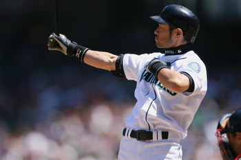 SEATTLE - JULY 20:  Ichiro Suzuki #51 of the Seattle Mariners bats against the Cleveland Indians on July 20, 2008 at Safeco Field in Seattle, Washington. The Indians defeated the Mariners 6-2. (Photo by Otto Greule Jr/Getty Images)