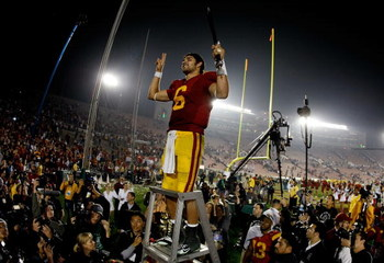 PASADENA, CA - JANUARY 01:  Quarterback Mark Sanchez #6 of the USC Trojans celebrates after defeating the Penn State Nittany Lions at the 95th Rose Bowl Game presented by Citi on January 1, 2009 at the Rose Bowl in Pasadena, California.  (Photo by Harry H