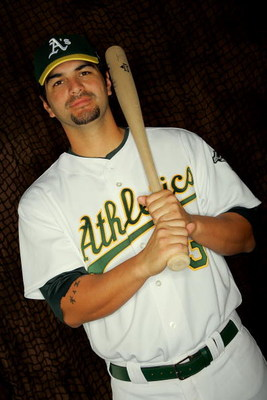 PHOENIX - FEBRUARY 25:   Eric Chavez #3 of the Oakland Athletics poses for a portrait during Spring Training photo day on February 25, 2008 in Phoenix, Arizona.  (Photo by Lisa Blumenfeld/Getty Images)