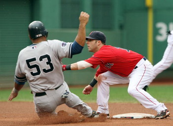 BOSTON - SEPTEMBER 28: Dustin Pedroia #15 of the Boston Red Sox is unable to tag out Bobby Abreu #53  of the New York Yankees on September 28, 2008 during game one of the double header at Fenway Park in Boston, Massachusetts.  (Photo by Elsa/Getty Images)