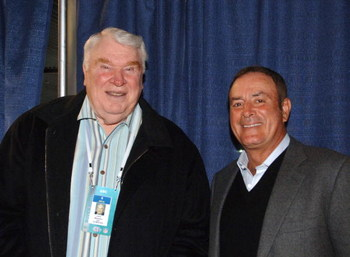John Madden and Al Michaels during media day for Super Bowl XL at Ford Field in Detroit, Michigan on January 31, 2006.  (Photo by Al Messerschmidt/Getty Images)