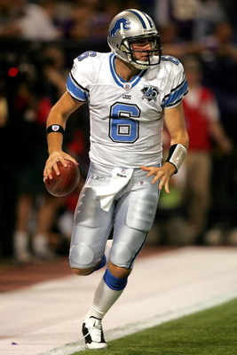 MINNEAPOLIS - OCTOBER 12:  Quarterback Dan Orlovsky #6 of the Detroit Lions steps out of the back of the endzone for a safety against the Minnesota Vikings at the HHH Metrodome October 12, 2008 in Minneapolis, Minnesota. (Photo by Matthew Stockman/Getty I